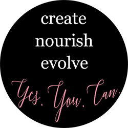 Dark Circle with words create nourish evolve Yes.You.Can.